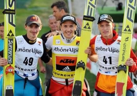 Adam Małysz, Simon Ammann i Roman Koudelka /AFP