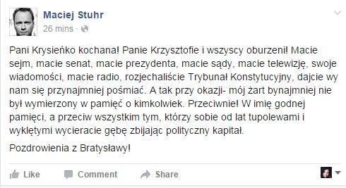 """Aferę"" postanowil skomentować sam Maciej Stuhr /Facebook"
