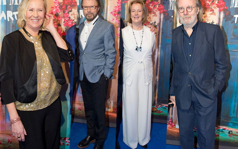Agnetha Faltskog, Benny Andersson, Anni-Frid Lyngstad i Bjorn Ulvaeus w 2016 roku na otwarciu restauracji Mamma Mia: The Party / AFP / JONATHAN NACKSTRAND