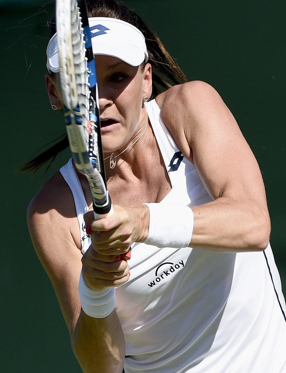 Agnieszka Radwańska w meczu z Czeszką Lucie Hradecką /FACUNDO ARRIZABALAGA /PAP/EPA
