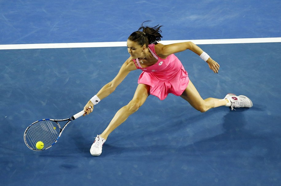 Agnieszka Radwańska w półfinałowym meczu Australian Open przeciwko Serenie Williams /Mast Irham /PAP/EPA