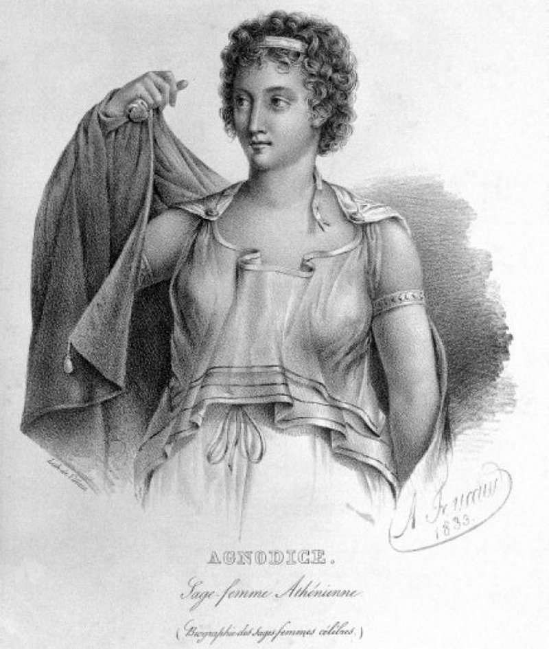Agnodike, czyli podobno pierwsza kobieta-lekarz w starożytnych Atenach, nie jest uważana powszechnie za postać historyczną. Niemniej jednak, była często stosowana jako argument przez kobiety praktykujące położnictwo (domena publiczna) /Ciekawostki Historyczne