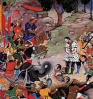 Akbar na koniu w otoczeniu wojowników i słoni, przed nim pokonany buntownik chan Bahadur, ilustrac /Encyklopedia Internautica