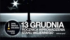 """Akcja IPN """"Zapal Światło Wolności"""" - 13 grudnia o 19.30"""