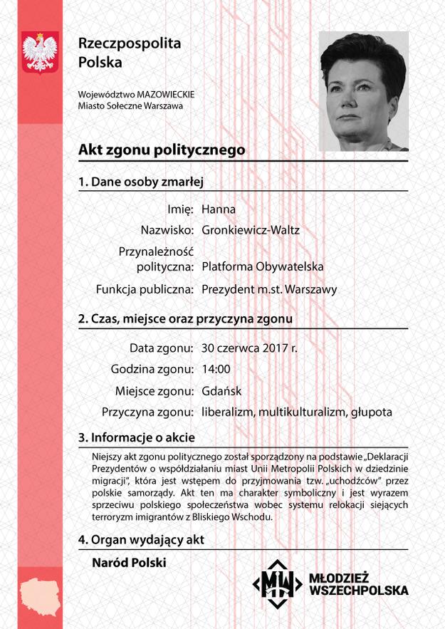 """""""Akt politycznego zgonu"""" Hanny Gronkiewicz-Waltz /Facebook"""