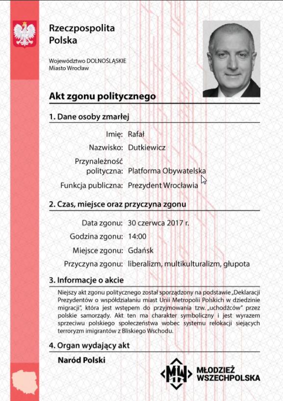 """""""Akt politycznego zgonu"""" Rafała Dutkiewicza /Facebook"""
