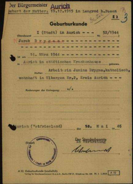 Akt urodzenia Jurka Drygasa /Archiwum prywatne Piotra Janiaka /