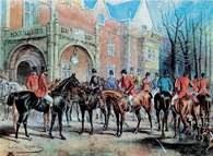 Akwarela: Juliusz Kossak, Wyjazd na polowanie u Dzieduszyckich, 1845 r. /Encyklopedia Internautica