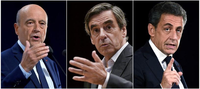Alain Juppe, Francois Fillon i Nicolas Sarkozy: Kto z nich zmierzy się z  Marine Le Pen? /AFP