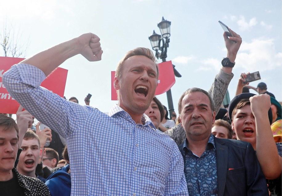 Aleksiej Nawalny podczas protestu w Moskwie /PAP/ITAR-TASS /PAP/ITAR-TASS
