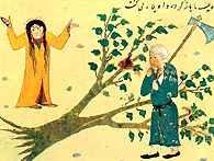 Ali na rozkaz Mahometa ścina w Mekce święte drzewo, ludowa miniatura perska /Encyklopedia Internautica