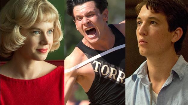 """Amy Adams (""""Wielkie oczy""""), Jack O'Connell (""""Niezłomny"""") i Miles Teller (""""Whiplash"""") /materiały prasowe"""