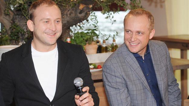 Borys Szyc i Piotr Adamczyk na konferencji prasowej serialu /Niemiec /AKPA