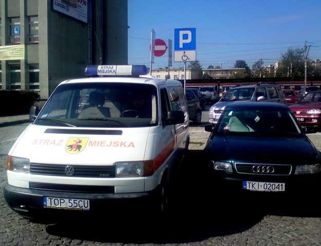 Przykład z Kielc, z parkingu pod dworcem głównym PKP
