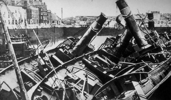 Brytyjskie i francuskie okręty zatopione pod Dunkierką /Keystone/Getty Images