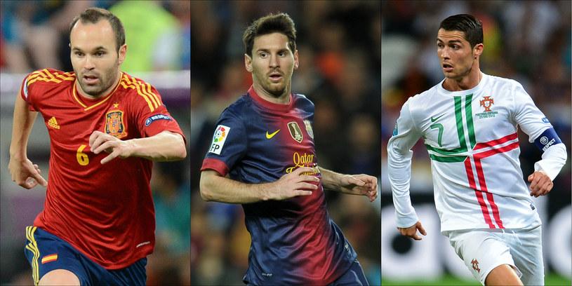 Andres Iniesta, Lionel Messi i Cristiano Ronaldo - kandydaci do nagrody dla najlepszego piłkarza roku /AFP