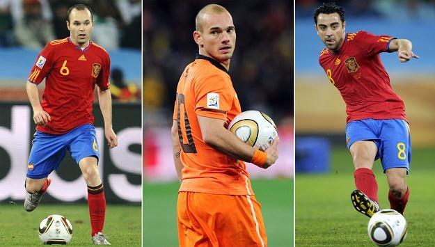 Andres Iniesta, Wesley Sneijder i Xavi Hernandez rządzili w piłce w 2010 r. /AFP