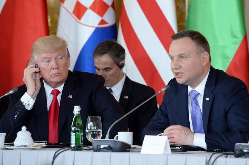 Andrzej Duda i Donald Trump podczas transatlantyckiej sisji Szczytu Trójmorza na Zamku Królewskim w Warszawie /Jacek Turczyk /PAP