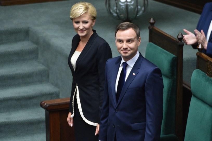 Andrzej Duda i towarzysząca mu żona Agata Kornhauser-Duda /Jacek Turczyk /PAP