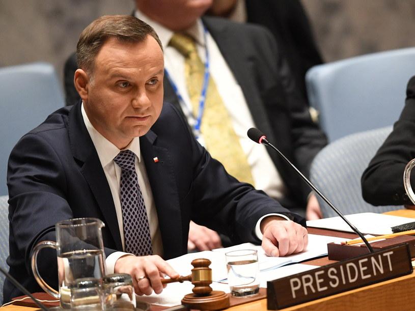 Andrzej Duda podczas debaty otwartej wysokiego szczebla w siedzibie ONZ w Nowym Jorku / Radek Pietruszka   /PAP