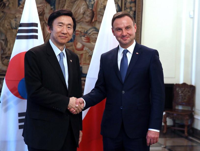 Andrzej Duda spotkał się w czwartek z ministrem spraw zagranicznych Korei Byung-se Yunem /Tomasz Gzell /PAP