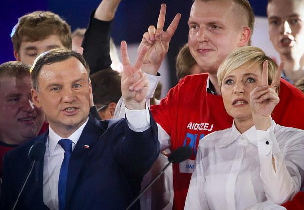 Andrzej Duda z żoną Agatą /Paweł Supernak /PAP
