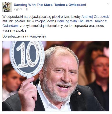"Andrzej Grabowski pozostaje jurorem ""TzG"" /Facebook"