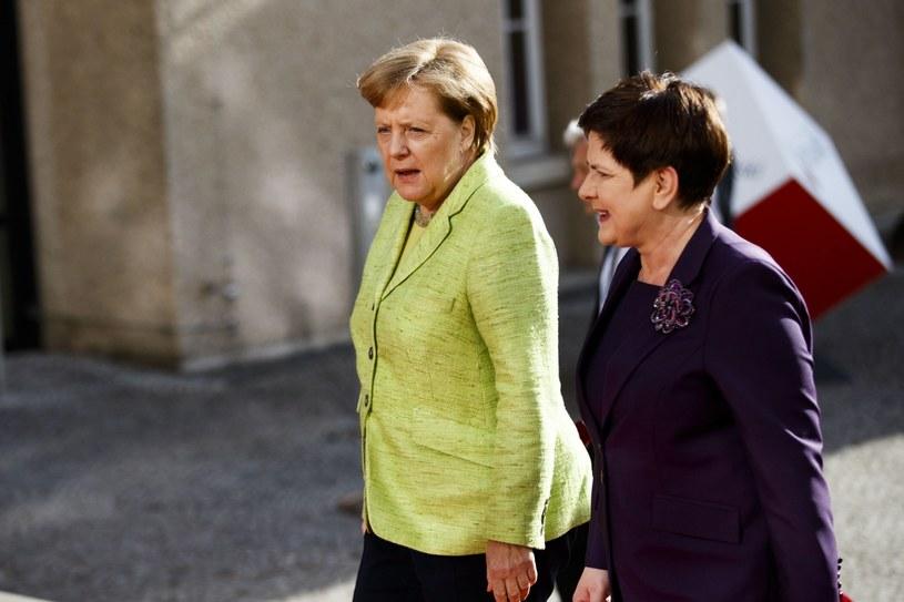 Angela Merkel i Beata Szydło przed wczorajszym otwarciem targów w Hanowerze /PAP/EPA