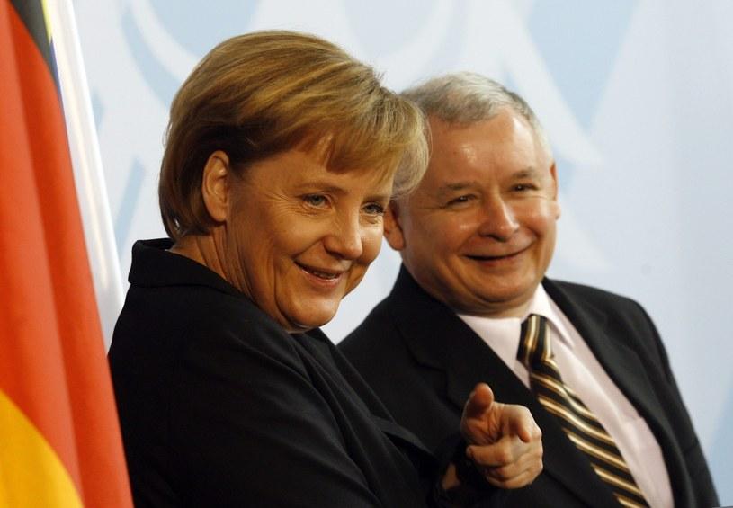 Angela Merkel i Jarosław Kaczyński /AP /East News
