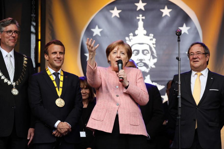 Angela Merkel podczas wręczania nagrody Karola Wielkiego /RONALD WITTEK /PAP/EPA