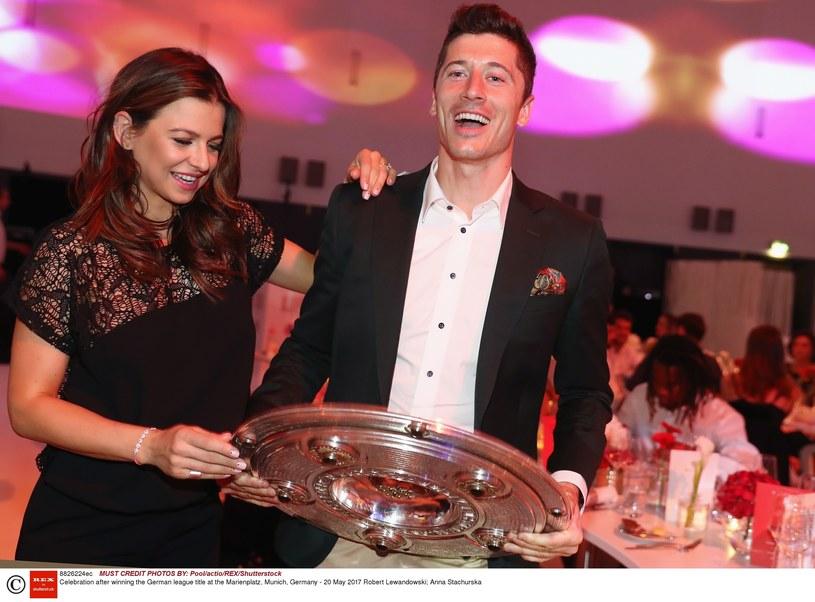 Anna i Robert Lewandowscy na imprezie Bayernu /Pool/actio/REX/Shutterstock /East News