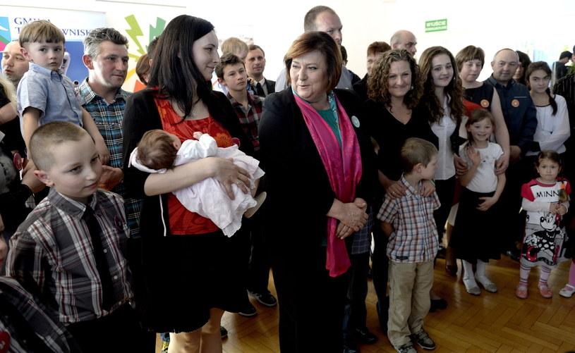 Anna Komorowska podczas spotkania z rodzinami w Trzebownisku /Darek Delmanowicz /PAP