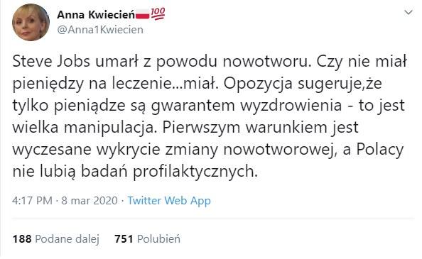 Anna Kwiecień na Twitterze /Twitter