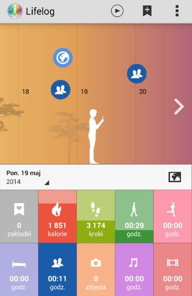 Aplikacja Lifelog, która rejestruje nasze aktywności. Na górze oś czasu (możemy ją cofać). Poniżej - konkretne zestawy aktywności /INTERIA.PL