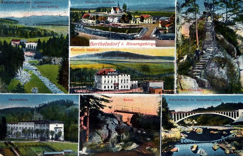 """Archiwalny, kolorowy """"folder"""" turystyczny, czyli co warto zobaczyć w Berthelsdorf. Źródło: www.snipview.com /Odkrywca"""