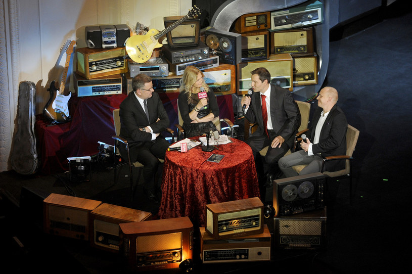 Artur Andrus, Grażyna Torbicka, Robert Kantereit i Piotr Stelmach na 50. urodzinach radiowej Trójki (2012) /AKPA
