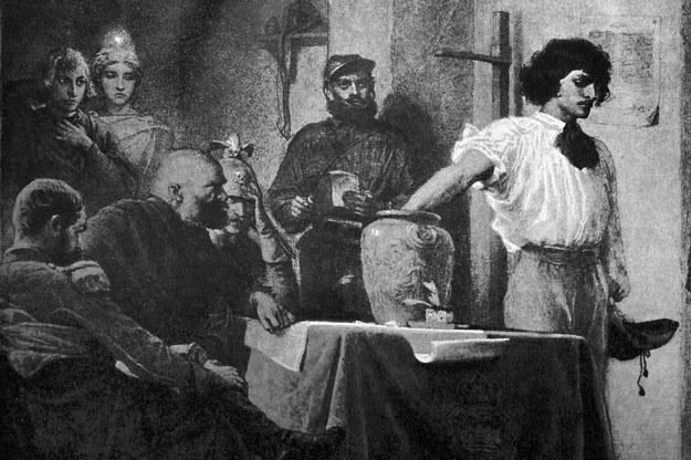 """Artur Grottger """"Losowanie rekrutów"""", rysunek z cyklu """"Wojna"""" z 1866 roku. Reprodukcja: Marek Skorupski /Agencja FORUM"""