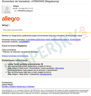 Atak na użytkowników serwisu Allegro