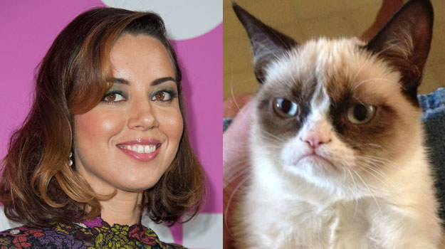 Aubrey Plaza i Grumpy Cat /Valerie Macon/internet /Getty Images