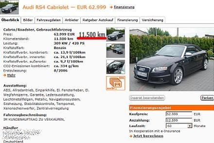 Audi w Niemczech, przebieg 11,500 km / Kliknij /