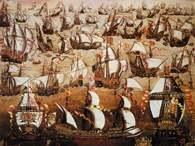 Autor nieznany, wyobrażenie armady hiszpańskiej /Encyklopedia Internautica