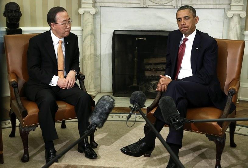 Ban Ki Mun i Barack Obama /PAP/EPA