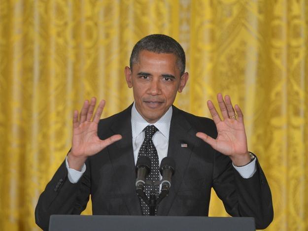 Barack Obama podczas uroczystości w Białym Domu /AFP