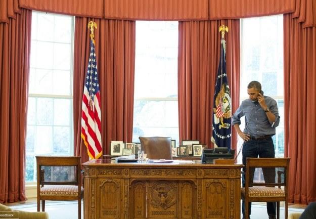 Barack Obama rozmawia z Władimirem Putinem /Fot. Biały Dom /INTERIA.PL