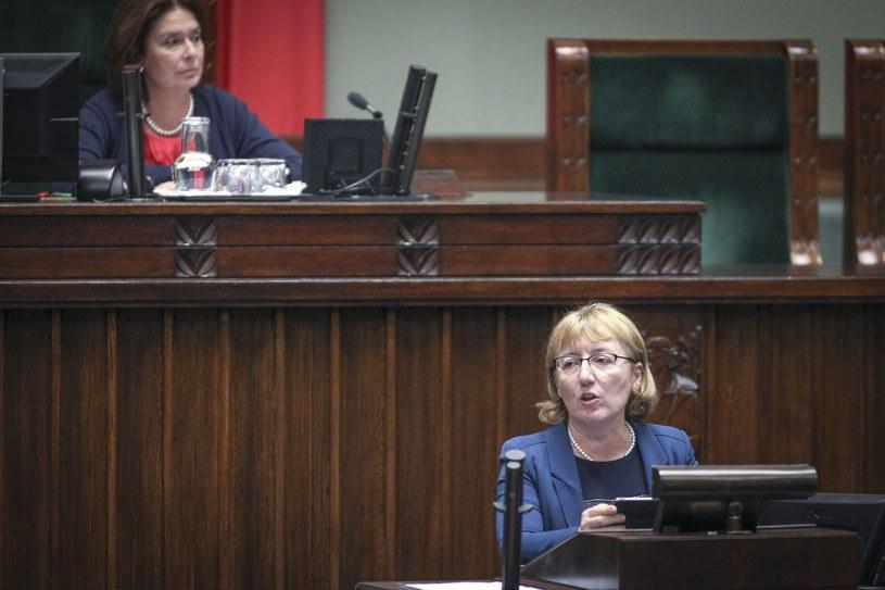 Barbara Bubula podczas przemówienia w Sejmie /Iwańczuk /Reporter