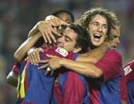 Barcelona - Atletico 2:2. Gracze z Katalonii cieszą się po pierwszym golu Luisa Enrique