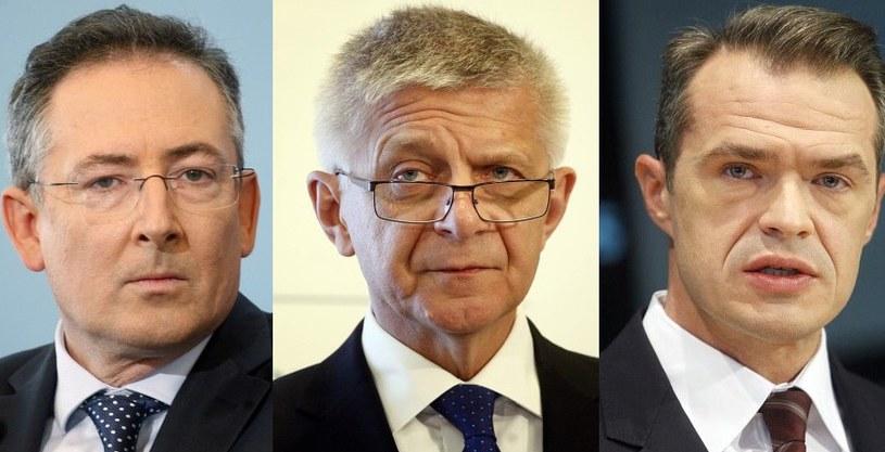 Bartłomiej Sienkiewicz, Marek Belka i Sławomir Nowak /Adam Guz /Reporter