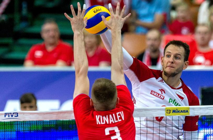 Bartosz Kurek (P) w meczu z Rosją /Andrzej Grygiel /PAP