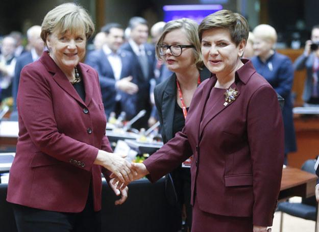 Beata Szydło i Angela Merkel w Brukseli /OLIVIER HOSLET /PAP/EPA