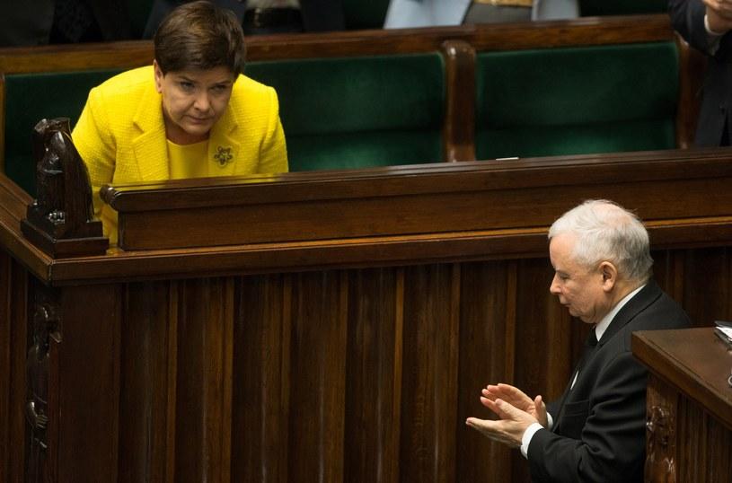 Beata Szydło i Jarosław Kaczyński w Sejmie /Tomasz Jastrzębowski /Reporter
